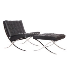 Black Leather Knoll Barcelona Chair with Ottoman